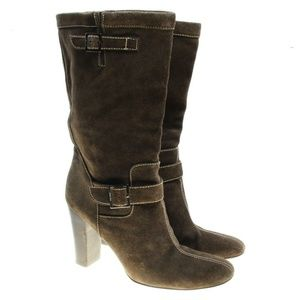 Calvin Klein Brown Suede Leather Mid Calf Boots